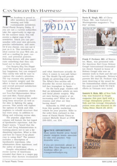 Facial Plastic Times features Dr. Rizk Teenage Rhinoplasty