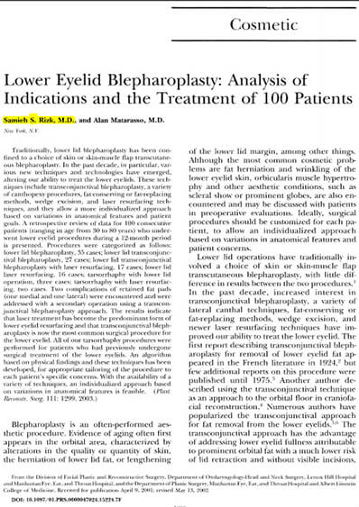 New Blepharoplasty Algorithm by Dr Rizk in Plastic and Reconstructive Surgery Journal