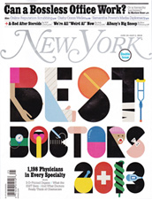 Voted by peers to New York Magazine's 2013 Top Doctors - facial plastic surgery; rhinoplasty revision; and nasal surgery.