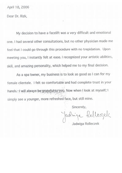 Dr. Rizk's patients' testimonial - image