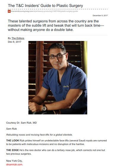 Dr. Rizk featured in Town & Country Magazine as one of the masters of the subtle lift and tweak that will turn back time